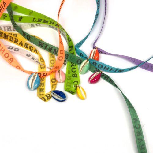 Bracelet Brésilien maridou coquillage et ruban